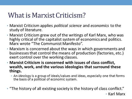 What is Marxist Criticism?
