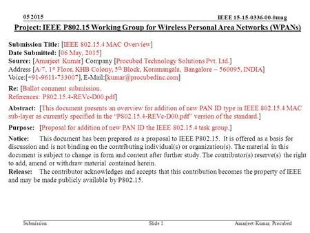IEEE 15-15-0336-00-0mag Submission 05 2015 Amarjeet Kumar, Procubed Slide 1 Project: IEEE P802.15 Working Group for Wireless Personal Area Networks (WPANs)