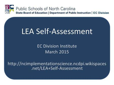 LEA Self-Assessment EC Division Institute March 2015