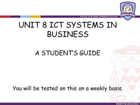 UNIT 8 ICT SYSTEMS IN <strong>BUSINESS</strong>
