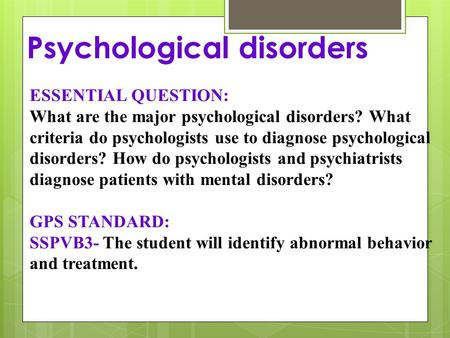 an analysis of abnormal psychology mental disorders