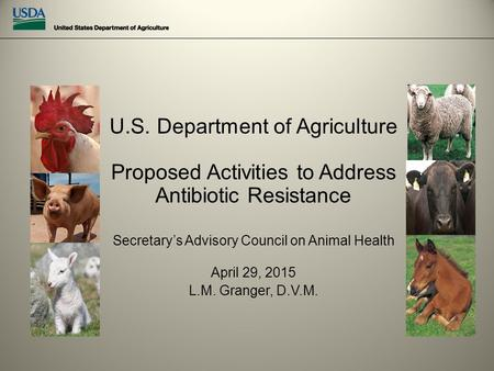 U.S. Department of Agriculture Proposed Activities to Address Antibiotic Resistance Secretary's Advisory Council on Animal Health April 29, 2015 L.M. Granger,