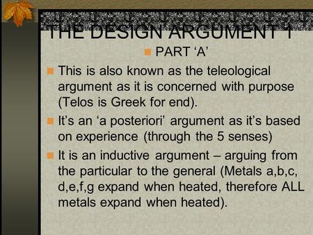 THE DESIGN ARGUMENT 1 PART 'A'