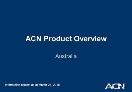 ACN Product Overview Australia