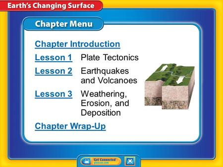 Chapter Menu Chapter Introduction Lesson 1Lesson 1Plate Tectonics Lesson 2Lesson 2Earthquakes and Volcanoes Lesson 3Lesson 3Weathering, Erosion, and Deposition.