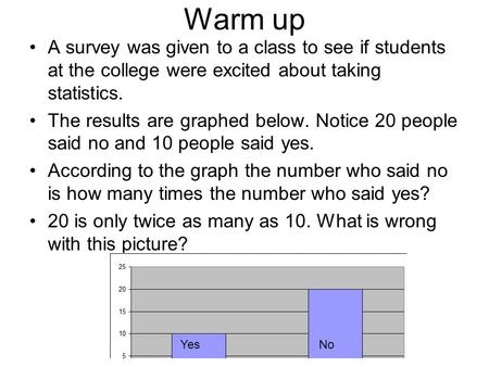 Warm up A survey was given to a class to see if students at the college were excited about taking statistics. The results are graphed below. Notice 20.