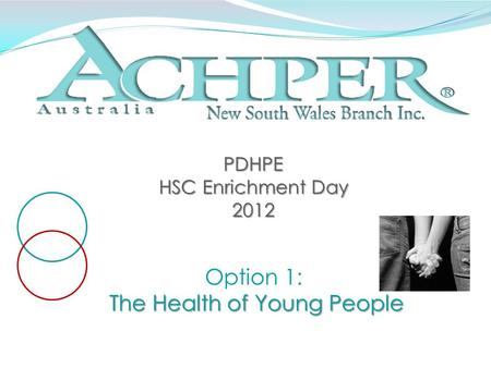 PDHPE HSC Enrichment Day 2012 Option 1: The Health of Young People.