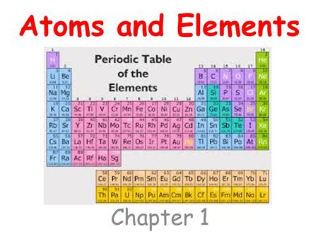 Atoms and Elements Chapter 1. How do we draw atoms? 1. Look at the Atomic number 2. Atomic number = # protons in the atom 3. # protons = # electrons in.
