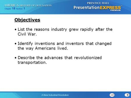 Chapter 18 Section 1 A New Industrial Revolution Objectives List the reasons industry grew rapidly after the Civil War. Identify inventions and inventors.