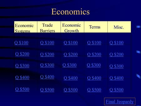 Economics Economic Systems Trade Barriers Misc. Q $100 Q $200 Q $300 Q $400 Q $500 Q $100 Q $200 Q $300 Q $400 Q $500 Final Jeopardy Economic Growth Terms.