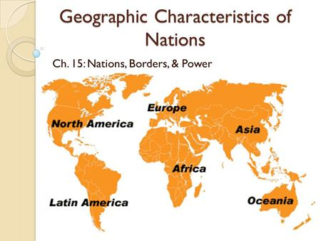 Geographic Characteristics of Nations