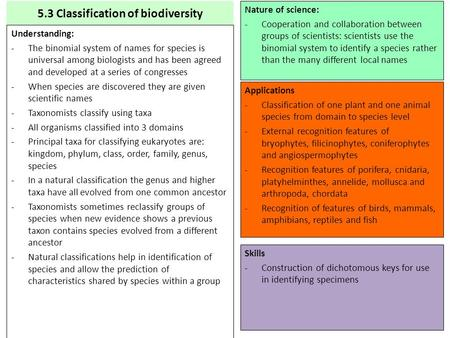 5.3 Classification of biodiversity