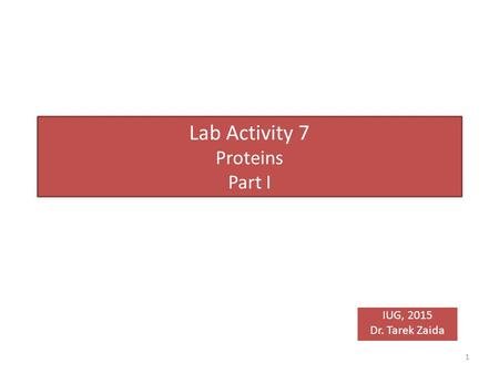 Lab Activity 7 Proteins Part I IUG, 2015 Dr. Tarek Zaida 1.