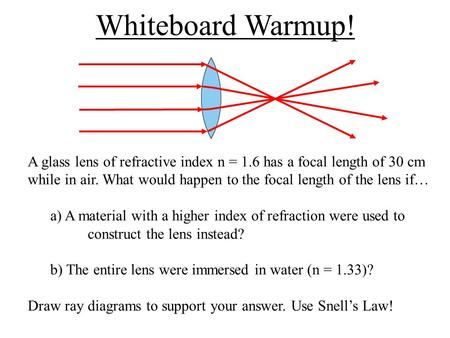 Whiteboard Warmup! A glass lens of refractive index n = 1.6 has a focal length of 30 cm while in air. What would happen to the focal length of the lens.
