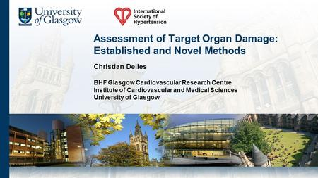 Assessment of Target Organ Damage: Established and Novel Methods Christian Delles BHF Glasgow Cardiovascular Research Centre Institute of Cardiovascular.