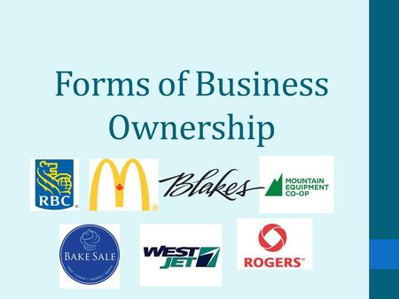 Forms of Business Ownership. Canadian Business Types In Canada, we generally have 4 types of business structures: 1.Sole Proprietorships 2.Partnerships.