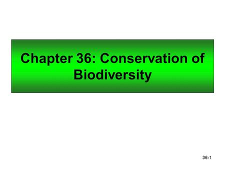 36-1 Chapter 36: Conservation of Biodiversity. 36-2 Conservation Biology and Biodiversity Conservation biology studies all aspects of biodiversity with.