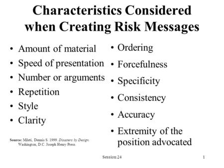 Session 241 Characteristics Considered when Creating Risk Messages Amount of material Speed of presentation Number or arguments Repetition Style Clarity.