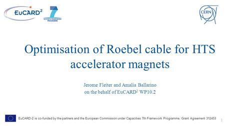 Optimisation of Roebel cable for HTS accelerator magnets Jerome Fleiter and Amalia Ballarino on the behalf of EuCARD 2 WP10.2 1 EuCARD-2 is co-funded by.