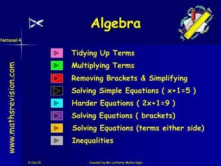 9-Jun-15Created by Mr. Lafferty Maths Dept. Tidying Up Terms Multiplying Terms Algebra www.mathsrevision.com Solving Simple Equations ( x+1=5 ) Removing.