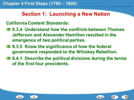 Section 1: Launching a New Nation California Content Standards: 8.3.4 Understand how the conflicts between Thomas Jefferson and Alexander Hamilton resulted.