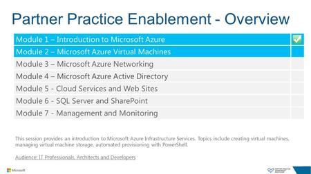 Partner Practice Enablement - Overview This session provides an introduction to Microsoft Azure Infrastructure Services. Topics include creating virtual.