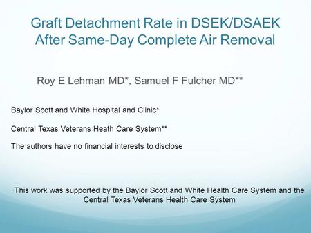 Graft Detachment Rate in DSEK/DSAEK After Same-Day Complete Air Removal Roy E Lehman MD*, Samuel F Fulcher MD** The authors have no financial interests.