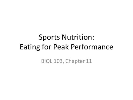 Sports Nutrition: Eating for Peak Performance