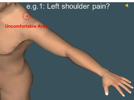 E.g.1: Left shoulder pain? Uncomfortable Area. e.g.1: Left shoulder pain? Acupressure point 1 deep press down & up for 1 min.