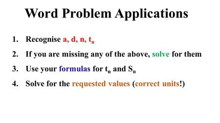 Word Problem Applications