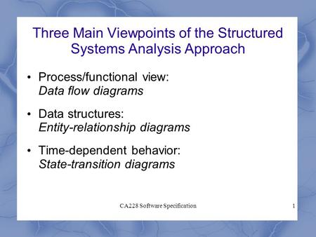 CA228 Software Specification1 Three Main Viewpoints of the Structured Systems Analysis Approach Process/functional view: Data flow diagrams Data structures: