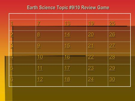 Earth Science Topic #9/10 Review Game