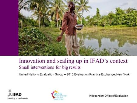 Independent Office of Evaluation Innovation and scaling up in IFAD's context Small interventions for big results United Nations Evaluation Group – 2015.