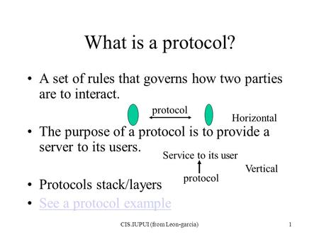 CIS.IUPUI (from Leon-garcia)1 What is a protocol? A set of rules that governs how two parties are to interact. The purpose of a protocol is to provide.