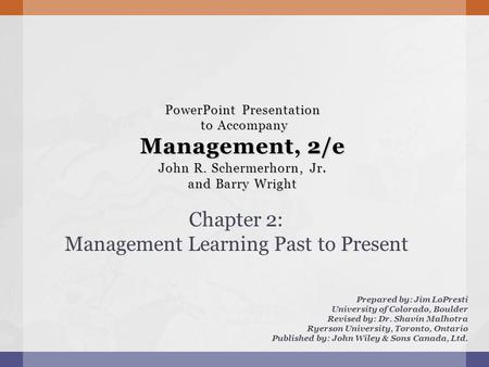 Chapter 2: Management Learning Past to Present