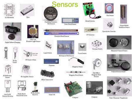 Sensors. What Are Sensors? Devices that change <strong>resistance</strong> due to – Light – Pressure – Position (angle) –etc… Haptic Perception - involves sensors in the.