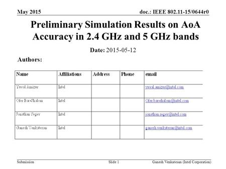 Doc.: IEEE 802.11-15/0644r0 Submission May 2015 Ganesh Venkatesan (Intel Corporation)Slide 1 Preliminary Simulation Results on AoA Accuracy in 2.4 GHz.