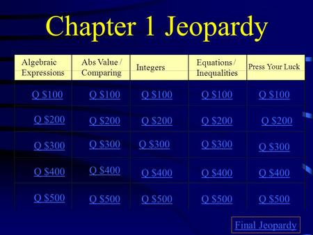 Chapter 1 Jeopardy Algebraic Expressions Abs Value / Comparing Integers Equations / Inequalities Press Your Luck Q $100 Q $200 Q $300 Q $400 Q $500 Q.