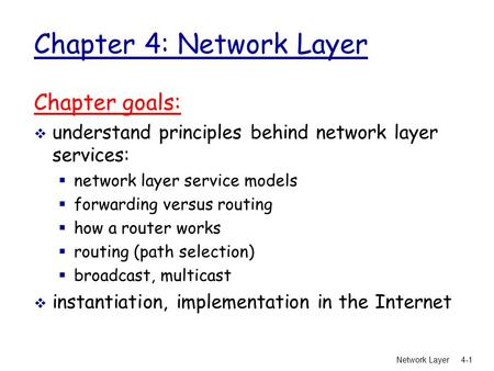 Network <strong>Layer</strong> 4-1 Chapter 4: Network <strong>Layer</strong> Chapter goals:  understand principles behind network <strong>layer</strong> services:  network <strong>layer</strong> service models  forwarding.