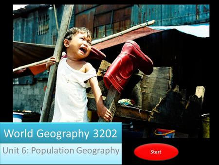 World Geography 3202 Unit 6: Population Geography Start.