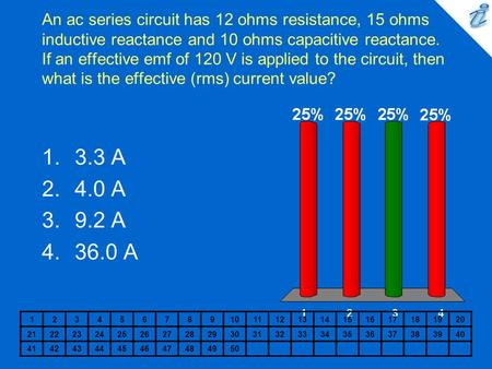 An ac series circuit has 12 ohms resistance, 15 ohms inductive reactance and 10 ohms capacitive reactance. If an effective emf of 120 V is applied to the.