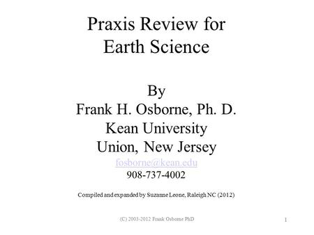 Praxis Review for Earth Science
