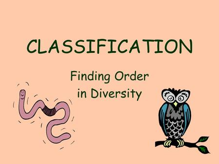 CLASSIFICATION Finding Order in Diversity. Organism Number Described Estimated number to be Discovered Viruses5,000about 500,000 Bacteria4,000400,000-300.