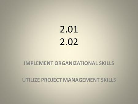 2.01 2.02 IMPLEMENT ORGANIZATIONAL SKILLS UTILIZE PROJECT MANAGEMENT SKILLS.