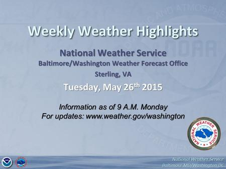 National Weather Service Baltimore MD/Washington DC National Weather Service Weekly Weather Highlights National Weather Service Baltimore/Washington Weather.
