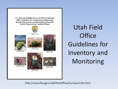 Utah Field Office Guidelines for Inventory and Monitoring