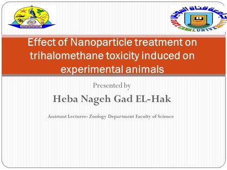 Presented by Heba Nageh Gad EL-Hak Assistant Lecturer- Zoology Department Faculty of Science Effect of Nanoparticle treatment on trihalomethane toxicity.