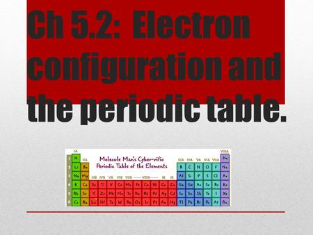 Ch 5.2: Electron configuration and the periodic table.