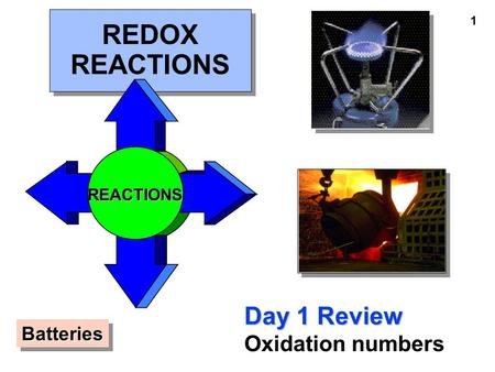 1 REDOX REACTIONS Day 1 Review Oxidation numbers REACTIONS BatteriesBatteries.