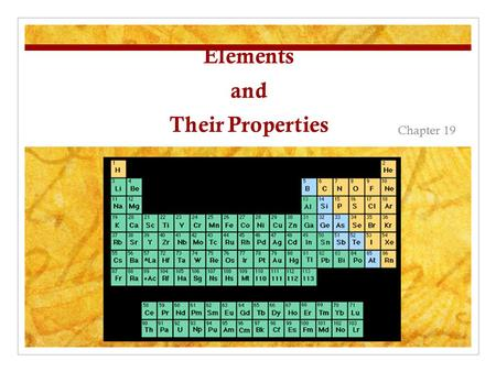 Elements and Their Properties